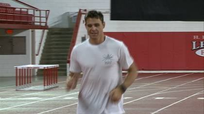 Derek Miles works out at the DakotaDome as he prepares for the London Olympics.
