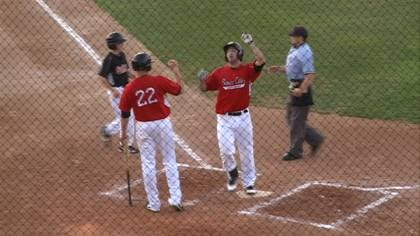 Kris Sanchez steps on home plate after hitting his 12th home run of the season on Friday.