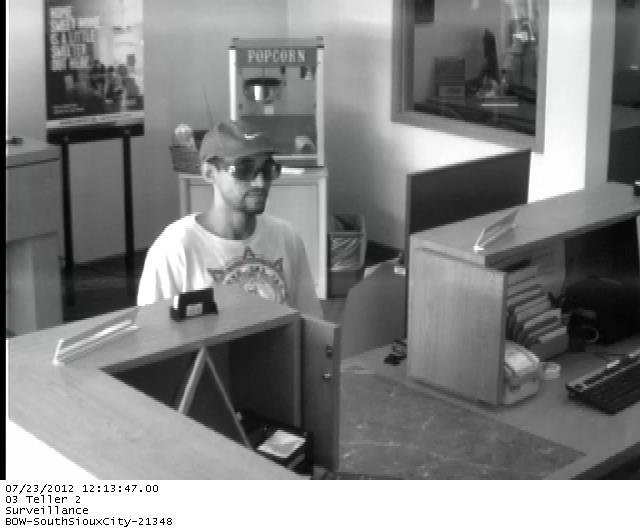 Authorities say they are looking for this man in connection with the robbery of Bank of the West in South Sioux City Monday.