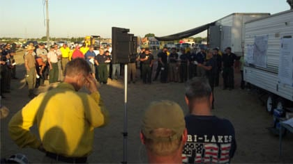 The scene at Thursday's morning briefing at fire camp in Ainsworth, Nebraska.