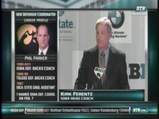 Kirk Ferentz talks to the media during the Big Ten Media days in Chicago.