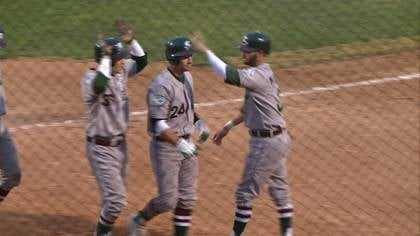 Craig Maddox is congratulated after hitting a grand slam in Gary's win over Sioux City on Wednesday.