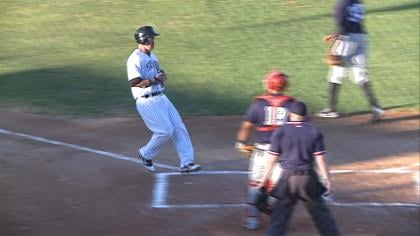 Kris Sanchez scores a run in Sioux City's 5-2 win over Winnipeg Saturday.