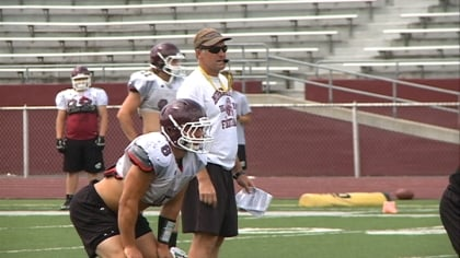 Morningside Head Coach Steve Ryan watches practice at the team's media day on Tuesday.