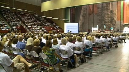 More than 2,000 school employees got together to celebrate accomplishments and to look forward to the future.