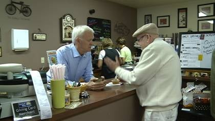 © U.S. Senate Candidate Bob Kerrey greets guests in South Sioux City, NE
