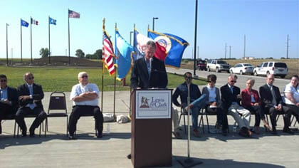 © Gov. Dennis Daugaard says a few words prior to the ribbon cutting ceremony in Vermillion, S.D.