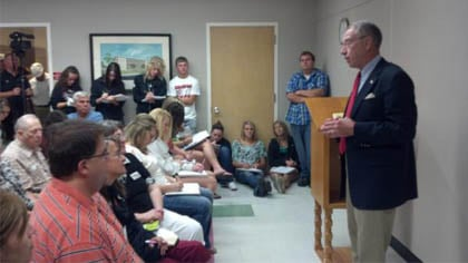 Sen. Grassley answers questions about the Wind Energy tax credit during a stop in Carroll, IA Wednesday.