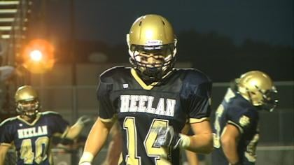 Connor Spears had three touchdown catches in the first half of Bishop Heelan's 38-28 win over East.