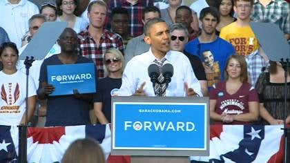 © President Barack Obama speak to voters at Morningside College