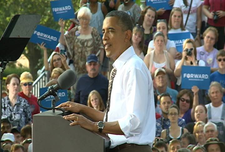 President Obama addresses the crowd at Morningside College in Sioux City on Saturday.  The president plans to campaign in Iowa City on Friday.