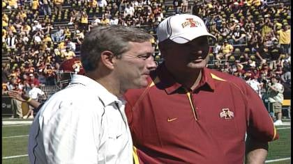 Iowa coach Kirk Ferentz and Iowa State coach Paul Rhoads meet at Kinnick Stadium in 2010.