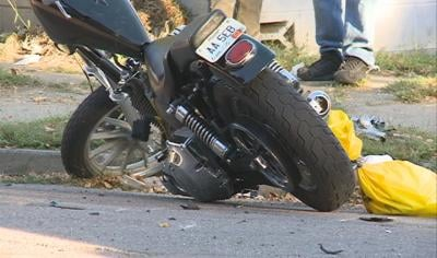 Police say the motorcyclist had at least one broken leg, other broken bones and possibly a head injury.