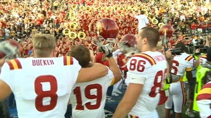 Iowa State celebrates a 9-6 win over Iowa on Saturday in Iowa City.