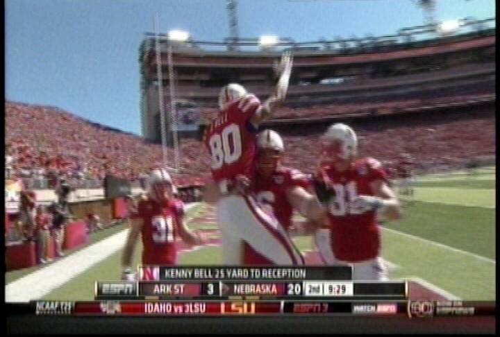 "Kenny Bell celebrates touchdown during NU""s 42-13 win over the red Wolves."