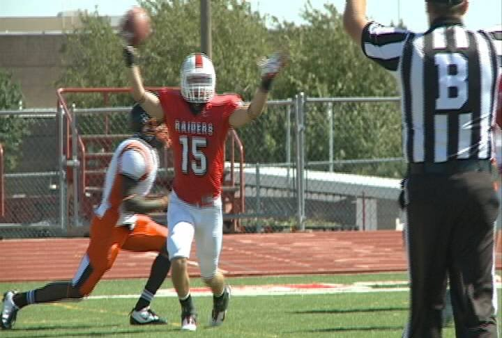 Brice Byker celebrates his first quarter TD against Doane.
