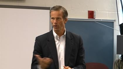 U.S. Senator John Thune stopped by Yankton High School's AP Government class Wednesday.