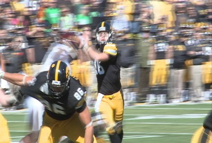 Iowa Quarterback James Vandenberg threw for 25 touchdowns last season, but only has one this season.