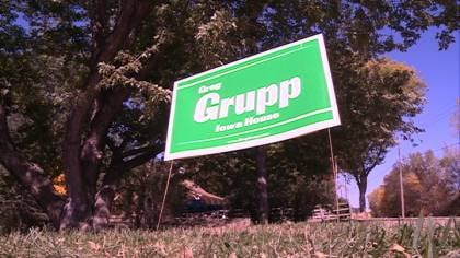 Two political signs were missing, for Iowa House District 14 candidate, Republican Greg Grupp.