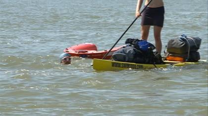 Adventurist, Dave Cornthwaite swam a thousand miles on the Missouri River.