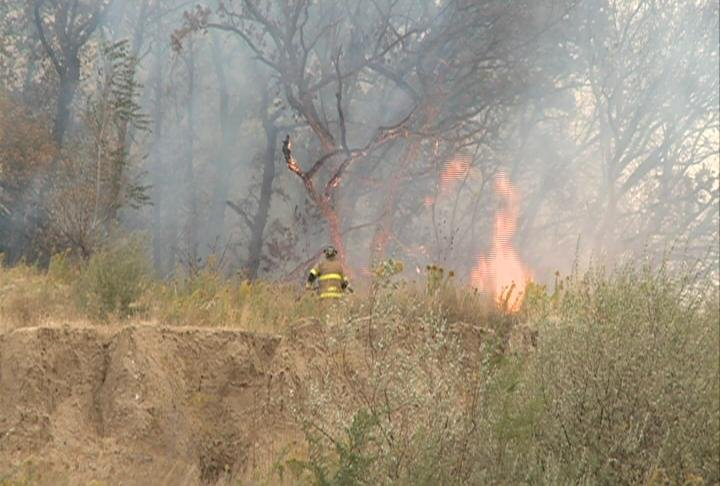 Sioux City fire fighters were called to the bluff along Floyd Boulevard.