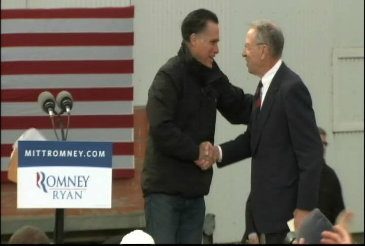 Romney addressed more than 1,000 supporters gathered on a corn field in Van Meter, Iowa.