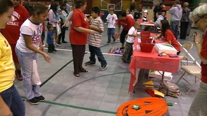 Kids play games of Red Ribbon Week event at Long Lines Family Rec Center.