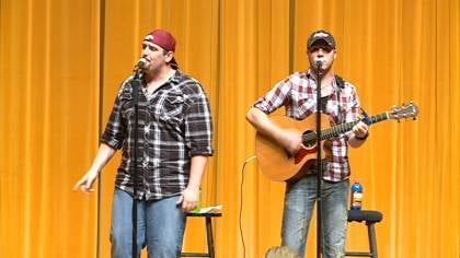 Casey Muessigmann and Wyatt Turner do sound checks before their performance at Morningside College.