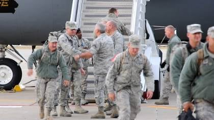 13 members of the 185th landed in Sioux City around 9:30.