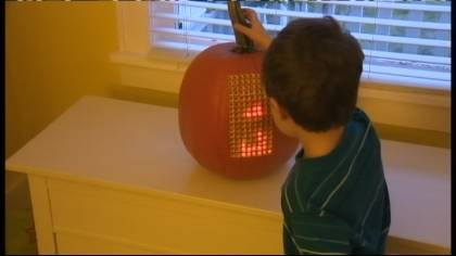 Nathan Pryor carved the grid on the pumpkin and loaded it up with LED lights.