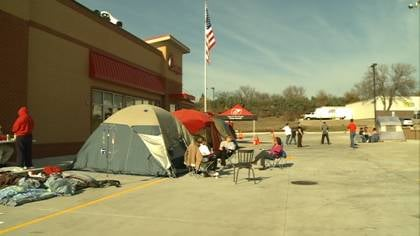 People camping outside the new Chick-Fil-A, waiting for the grand opening.