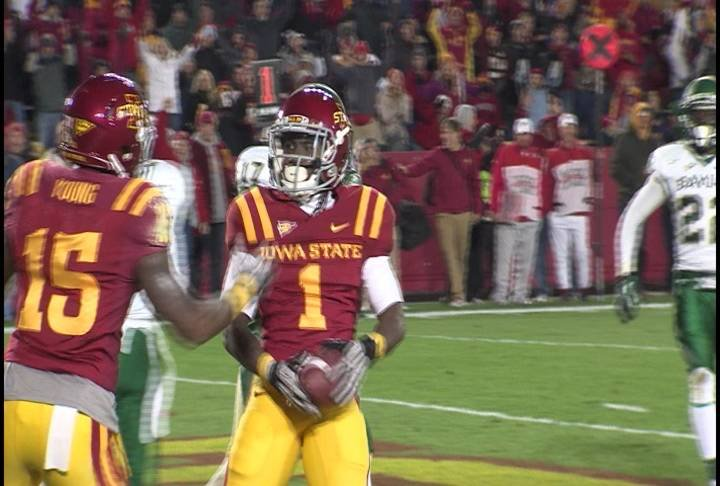 Jarvis West caught three touchdown passes in Iowa State's 35-21 win over Baylor.