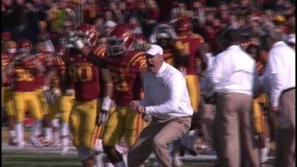 Iowa State coach Paul Rhoads reacts during the Cyclones loss to Oklahoma on Saturday.