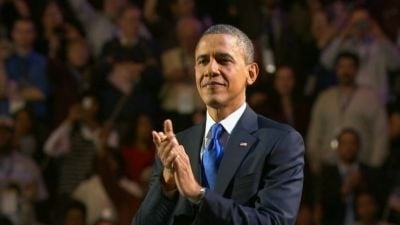 Mr. Obama thanked a jubilant Chicago crowd.