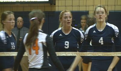 Bishop Heelan won their first Match at the state volleyball tournament, 3-1, over West Delaware.