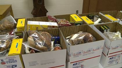 Care packages filled with a week's worth of groceries, ready for veterans to pick up.