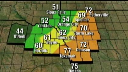 © The cold front left places like Tekamah, Neb. sitting at 77 degrees while O'Neill, Neb. had 44 degrees.
