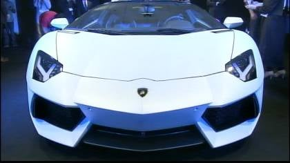 The new Lamborghini goes from zero to 60 in three seconds.