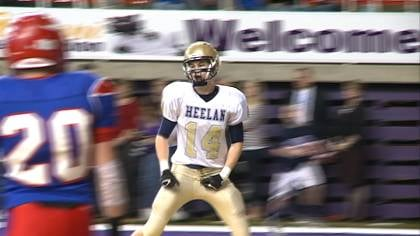 Connor Spears catches a touchdown pass during Heelan's 49-21 loss to Decorah in the 3A title game.