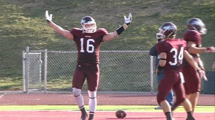 Joel McCabe celebrates following his second quarter TD.