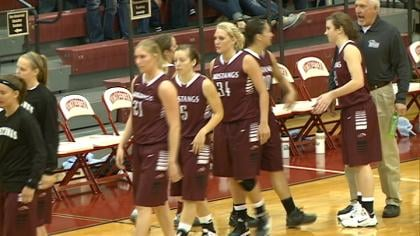 Morningside celebrates a 72-70 win at Northwestern on Tuesday night in Orange City.