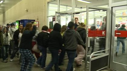The earliest shoppers began forming the line at 11 p.m. on Wednesday, to be first inside Kmart for door buster deals.
