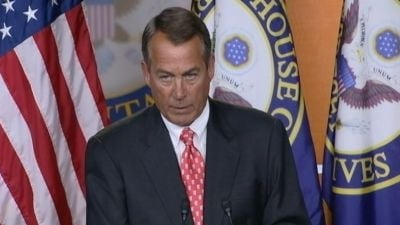 Boehner said there's been no substantial progress in two weeks of talks.