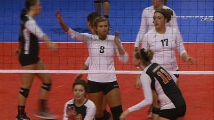 Morningside was knocked out of the NAIA volleyball tournament with a 3-0 loss to Georgetown of Kentucky.