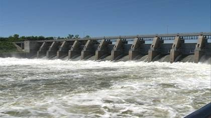 The U.S. Army Corps of Engineers began reducing releases at Gavins Point Dam near Yankton, SD on Nov. 23