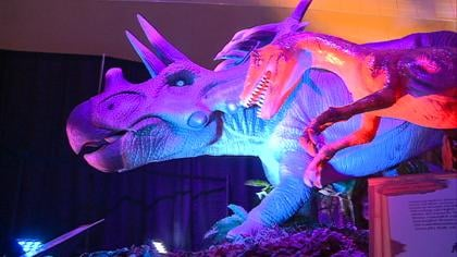 Triceratops animatronic featured in the Discover Dinosaurs Exhibit at the Sioux City Convention Center.