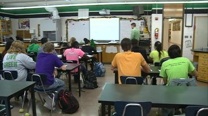 Storm Lake high school students learn in one the many classrooms inside a 50-year-old building. District officials hope ballot measures will create money for renovations.