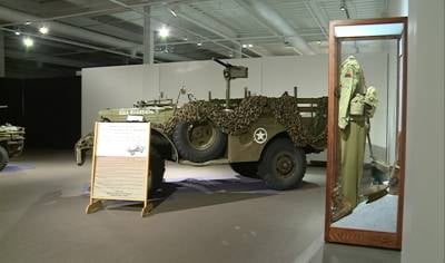 Military vehicle on display at Sioux City Public Museum.