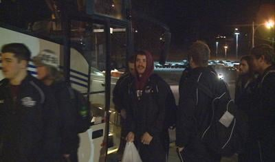 Morningside players and coaches loaded busses early Monday morning for Georgia and the NAIA championship game.