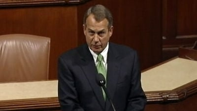 "Speaker John Boehner called fiscal talks ""stuck in place""."